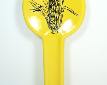 spoon rest with a Sweet Corn print on Lemon Butter Yellow READY to SHIP