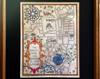 Pennsic War Map in Medieval Style Open Edition Print