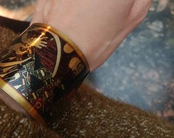 Gustav Klimt art cuff bracelet.Klimt bracelet. Gustav Klimt jewelry. Women's cuff bracelet. Art nouveau gift. Valentine's gift.