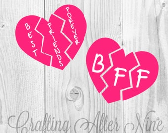Best Friends SVG, Best Friends 3 Way Split Heart, Besties SVG, Best Friends Forever Svg, DIY Best friend shirt, Bff heart, Svg Cut Files