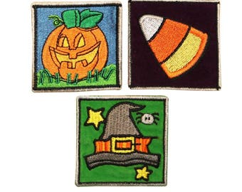 ID 0840ABC Set of 3 Halloween Candy Bag Patches Embroidered Iron On Applique