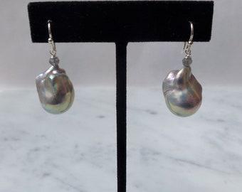 Silver Grey Baroque Pearl Earrings