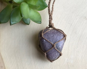 Purple Lepidolite Crystal Necklace - Healing Crystal Jewelry - Hemp Wrapped Stone Pendant - Purple Crystal - Anxiety Necklace - Gypsy Style