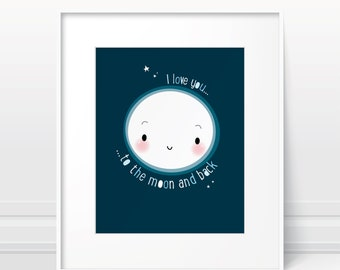 I love you to the moon and back - nursery wall art, baby shower gift, new baby gift, art print, Scandinavian nursery print, nursery poster