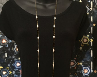 White Pearls and Gold Chain