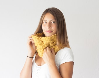 Sales Knit neckwarmer slouchy collar chunky cowl knit neck warmer in Mustard Yellow
