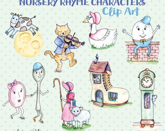 Digital Clip Art: Mother Goose Nursery Rhyme Characters   Illustrated Clipart   Scrapbooking Clip Art -NEW- 2 Seamless Patterns