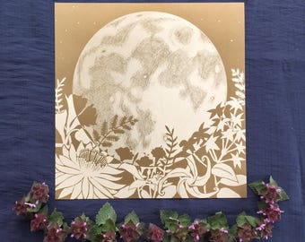Art Print: Full Moon Rises Over Night-Blooming Flowers Print - Moon Art Print, Wall Art, Moon Garden Art, Night Garden, Lunar Art, Moon Post