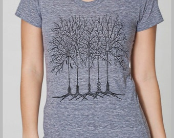 Boho Feathers Arrow Trees Women's T Shirt Gypsy Nature American Apparel Tee s, m, l, xl  8 COLORS Wanderlust shirt for her Travel gift