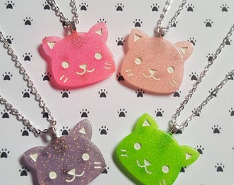 Glitter cat necklace, Cat necklace, Kitty necklace, Glitter necklace, Cat, Kitty, Cat lover, Cat lover gift, Crazy cat lover gift, Kawaii