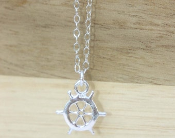Ship Wheel Necklace, Nautical Necklace, Sterling Silver Charm Necklace, Sailing Necklace, Summer Necklace, Travel Necklace