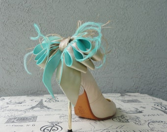 Bridal Party Wedding Aqua Blue And Nude Satin Ribbon Bow And Feather Shoe Clips Set Of Two