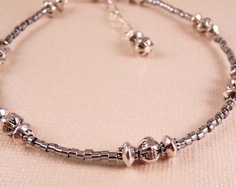 Silver Ankle Bracelet Beaded Anklet Metal Anklet Beaded Jewelry Silver Jewelry Silver Anklet