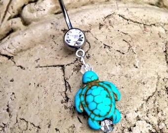 Turquoise Sea Turtle Belly Ring Turtle Tortoise Ocean Naval Ring Sea Turtle Turquoise Belly Ring Aqua Turtle Seaside Beach Mermaid Ocean