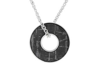 "30"" Gibeon Meteorite Necklace In Sterling Silver, Meteorite Washer Pendant, Meteorite Jewelry"