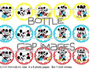 """Mickey and Minnie 4x6 printables - 1"""" circles, bottle cap images, Classic Oldie"""