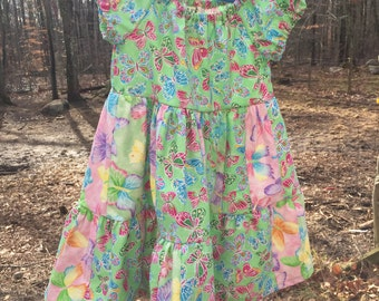 Little Girls modest size 3 dress in Butterfly prints; patchwork; easter
