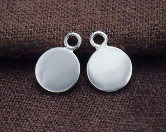 4 of 925 Sterling Silver Round  Disc Tag Charms 8mm. :tk0054