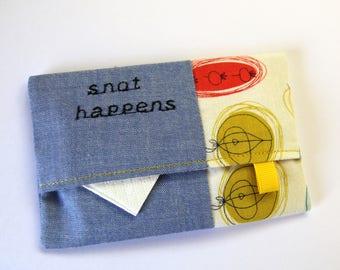 Travel Tissue Holder, Pocket Tissue Case, Tissue Pouch, Snot Happens Tissue Pouch, Tissue Cozy, Travel Tissue Case, Funny Gift