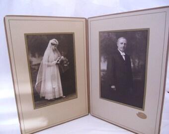 1920s Bride & Groom Antique Wedding Photos in Period Folder