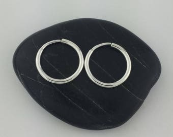 """Thick Silver Sleeper Hoop Earrings, 1/2"""" Silver Hoops, 16 Gauge, Sleeper Earrings, Sleeper Hoops, Half Inch"""