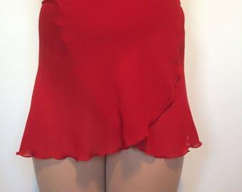 Adult Chiffon Ballet Wrap Skirt - Crimson
