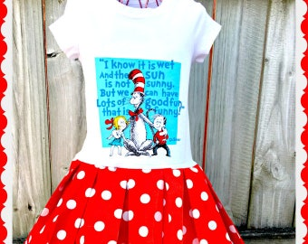girls dress Cat and the Hat authorized Robert Kaufman fabric 2T 3T 4T 4/5 6/6X 7/8 10/12 14/16