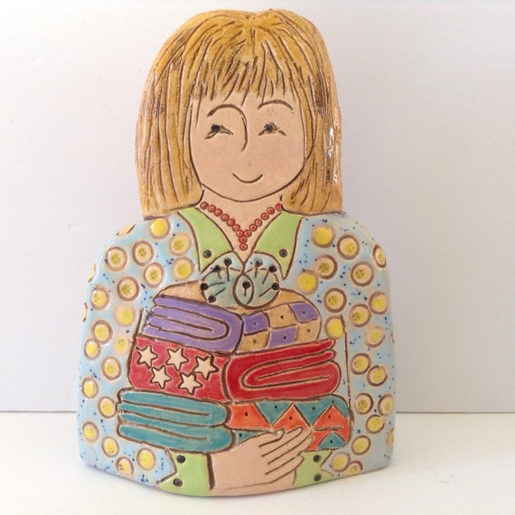 IN STOCK NOW. Lady with Quilts.  Handmade ceramic bust, mini-bust, Colourful People, collectible, one of a kind
