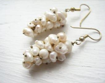Vintage fresh water pearl earrings, pearl cluster drop earrings, white pearl drops, pearl grape clusters