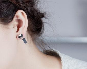 porcelain jewelry, porcelain earrings, porcelain studs, organic earrings, faceted earrings, unusual jewelry, creative jewelry, asymmetrical