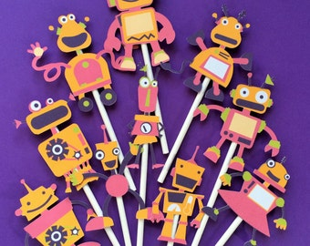 Robots cupcake toppers, 10 robot birthday party toppers, robots party, robots cake topper, robots party supply