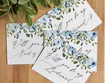 Bridal Party Proposal Cards, Will You Be My Bridesmaid Card, Will You Be My Maid Of Honor Card, Bridesmaid Proposal, Blue Florals