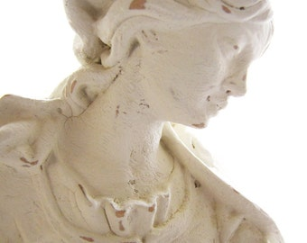Female Sculpture White Statue Distressed Hand Painted French from AllieEtCie