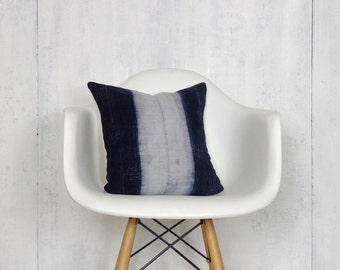Thailand Hmong Pillow Cover / Indigo Hemp Vintage Hand Dyed Blue Decorative Throw Cushion Organic Ethnic Textile Hand Spun Loom Boho Decor