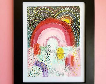 Where I Hope I Go When I Die Acrylic painting - Home Decor - Art - Rainbow Painting - Outsider Art - Folk Art - Colorful