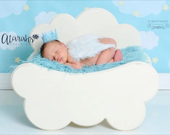 Lace Crown Newborn Baby Boy /  Photo Prop / Baby Blue Lace crown /   Photography Prop / MADE IN USA.