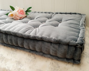 Handmade French Mattress Box Cushion, Bench, Seat Pad, Banquette, Squab, Steel Grey Cotton Velvet- PLEASE NOTE- Full Price on Quotation