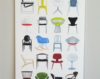 Modern Chairs, 13x19 and 8.5x11, art print, mid century modern