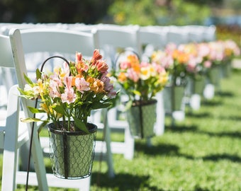 Flower Buckets, Sheppard's Hooks Metal Buckets, Chicken Wire, Bucket with Handle, Wedding, Ceremony Decor, Wedding Decor
