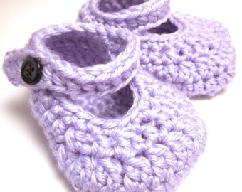 "Crochet Shoe Pattern ""Simple Mary Janes"" Sizes Baby to Toddler"