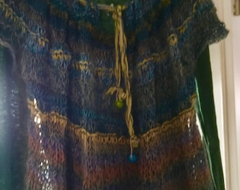Faerie tunic, super light, handknitted from very high-quality yarns - a feather-light piece of clothing that enhances every outfit
