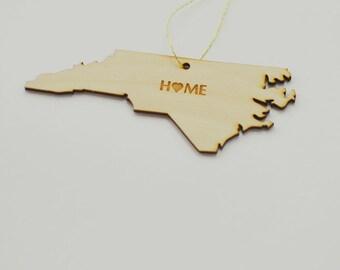 Natural Wood HOME North Carolina State Ornament
