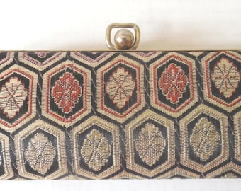 Mid Century Tapestry Eyeglass Case/Gold Metal Frame and Clasp/ Floral Design/Red Satin Lined