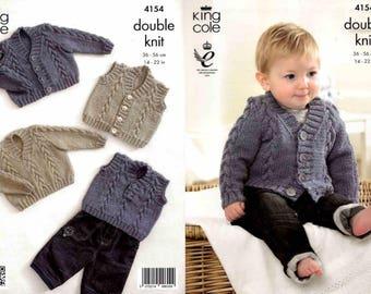 "King Cole Knitting Pattern 4154~Cardigan, Sweater, Waistcoat & Slipover~DK~14-22"""