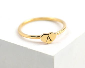 Gold Heart Initial Ring • Sterling Silver Initial Ring • Gold Initial Ring • Custom Ring • Personalised Ring • Letter Ring • Initial Jewelry