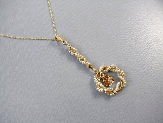 Antique Edwardian 14k gold twisted wire work seed pearl diamond halo lavalier pendant necklace