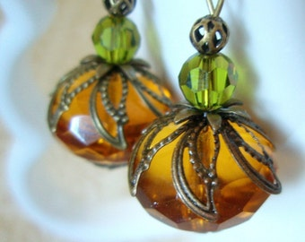 BACK IN STOCK! Pumpkin Earrings - Czech Glass and Swarovski Crystal Earrings - Orange and Green Antiqued Brass Vintage Style Autumn Earrings
