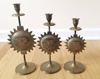 Vintage Set of Three Brass Sun Candleholders -- Celestial Candleholders -- Boho Home Decor