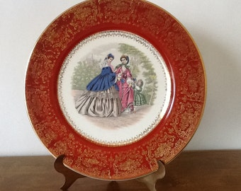 Vintage 23 Karat Gold Century by Salem Plate, Two Women with Child, Rustic Red Edge, Collectible, Mothers Day, Mint Condition