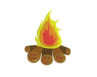 Campfire Embroidery Design - 3,4,5,6 inch size - instant download